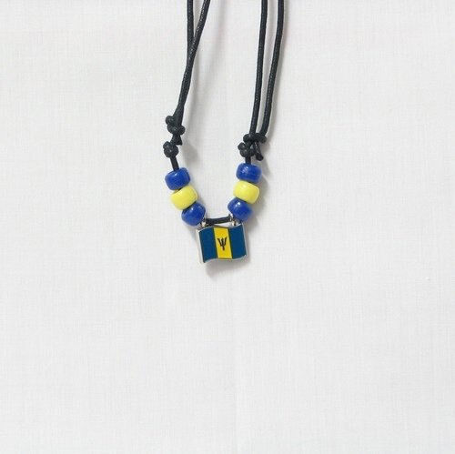 BARBADOS COUNTRY FLAG SMALL METAL NECKLACE CHOKER .. NEW