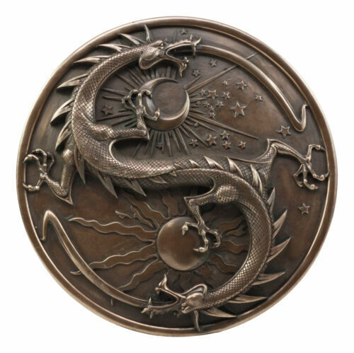 Double Dragon Alchemy in Robust Yin Yang Astrology Fusion Wall Plaque Sculpture