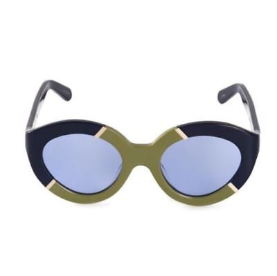 New Karen Walker FLOWERPATCH Navy/khaki/gold Sunglasses NWT