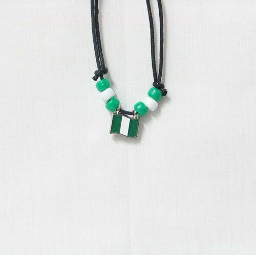 NIGERIA  COUNTRY FLAG SMALL METAL NECKLACE CHOKER .. NEW