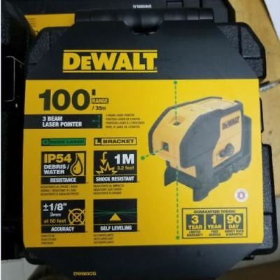 Dewalt Auto Level Measure Tool Dw083cg Green Beam 3 Spot Lasers With Box