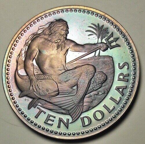 1980 BARBADOS SILVER TEN DOLLARS BU UNC COLOR TONED COIN