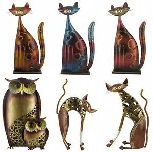 Quirky metal decor cat owl figurine ornaments gifts for for Quirky ornaments uk