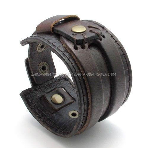 Men S Bracelet Leather Gold Diamond Beaded Ebay