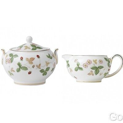 Wedgwood Wild Strawberry Covered Sugar Bowl and Creamer (2) Piece New with Tag 2 Piece Sugar Bowl