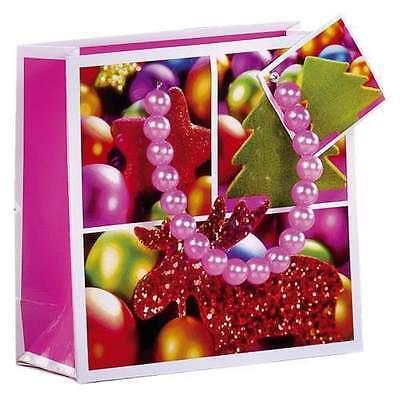 Geschenktragetasche Weihnachten mit Perlengriff Sonderpreis 4 Stück klein pink ()