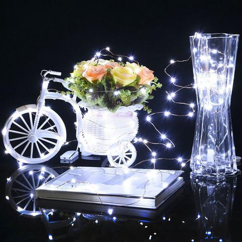 Micro LED Draht Lichterkette mit 10 LED´s, weiß, Batteriebetrieb ...