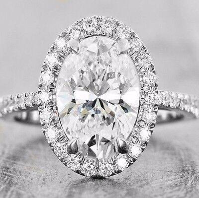 2.30 Ct Oval Brilliant Cut Halo Diamond U-Setting Engagement Ring G,VS2 GIA 18K