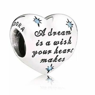 NEW Authentic Pandora Bead Disney Cinderella's Dream Silver Charm Blue 791593CFL
