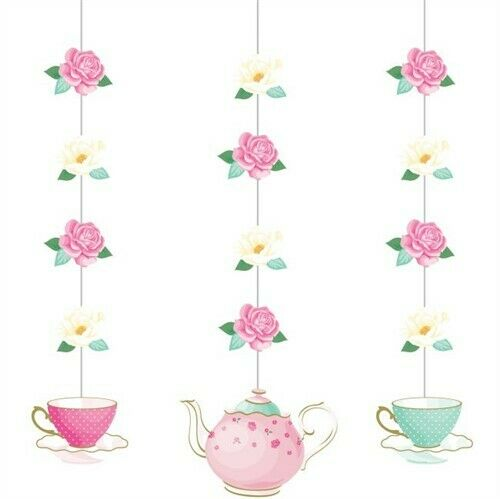 Mad Hatter Tea Party Hanging cutout decoration  Birthday Supplies Alice Teapot