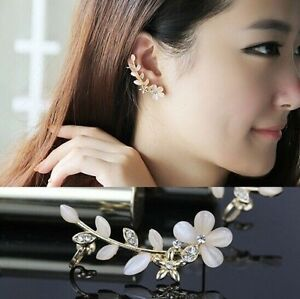 2-PCS-Flower-Silver-Plated-Rhinestone-Ear-Cuff-Clips-Earrings-Earring-Studs