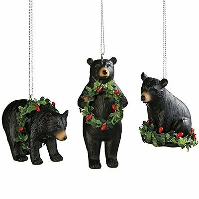 Set of 3 Black Bear Christmas Tree Ornaments, by MidWest CBK