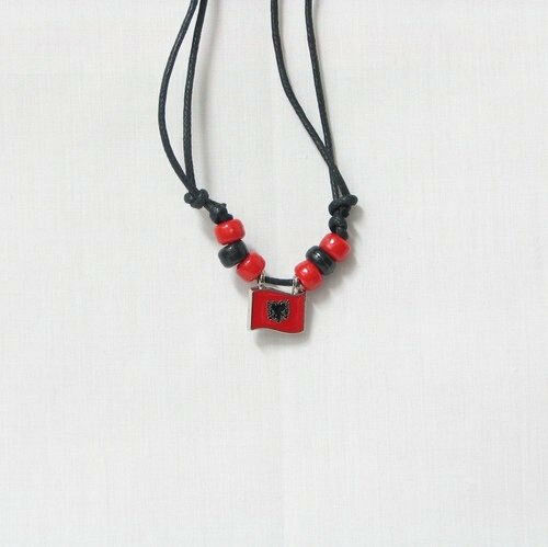 ALBANIA COUNTRY FLAG SMALL METAL NECKLACE CHOKER .. NEW