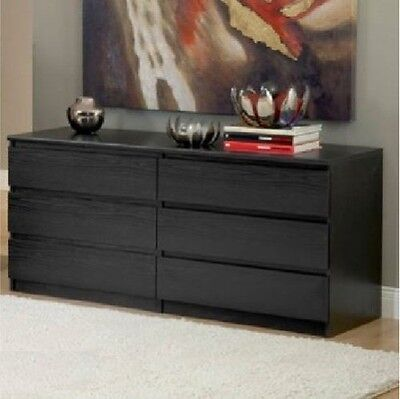 كومودينو جديد 6 DRAWER DRESSER CHEST Wood Storage Organizer Black Bedroom Furniture