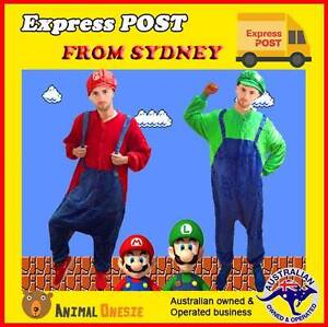 Super Mario Luigi Brothers Onesie Costume + Hat Epping Ryde Area Preview