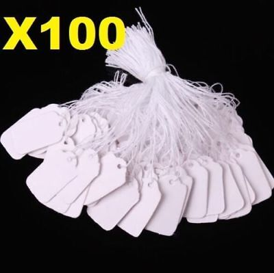 X100 White Strung String Tags Swing Price Tickets Jewelry Retail Tie On Label ^