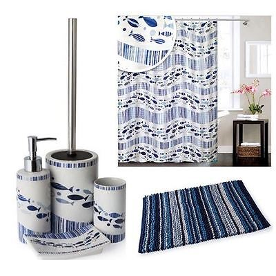 Bathroom Accessory Range (NEW MODERN STYLISH ACQUA RANGE BATHROOM ACCESSORY SET WHITE WITH BLUE STRIPS)