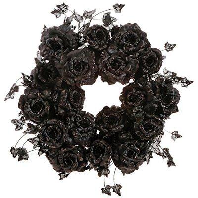 RAZ Imports Halloween Decor - Elegant Black Glitter Rose Wreath 20inch