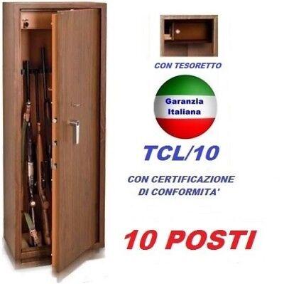 FUCILIERA BLINDATA PORTA FUCILI CASSAFORTE ARMADIETTO TECHNOMAX 10 POSTI LEGNO