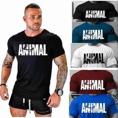 Us Stock Mens Animal Fitness T Shirt Cotton Gym Muscle Bodybuilding Shirt