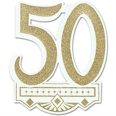 50th Anniversary Glittered Crest Gold Anniversary Party Supplies Decoration