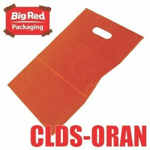 50-x-Orange-Plastic-Bags-with-Die-Cut-Handle-Gift-Party-Shopping-380-x-250mm