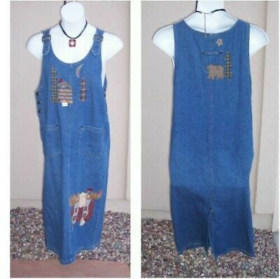 Blue jean denim overall jumper dress size L Rustic Xmas HOLIDAY moose bear pines