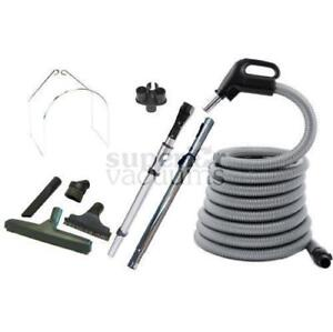 Central Vacuums Kit, 30' Plastiflex 3 Way Switch Hose Tools & Wands - Black