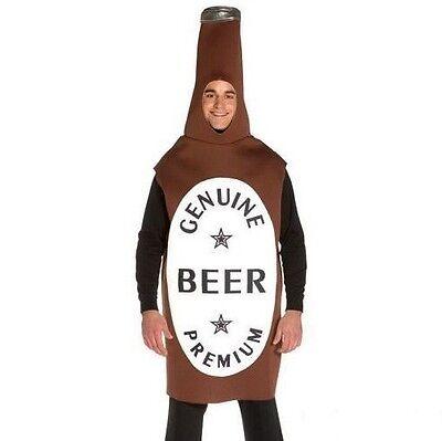 Da Uomo Adulti Bottiglia di Birra Costume Bevanda Vestito Abito Marrone Nuovi