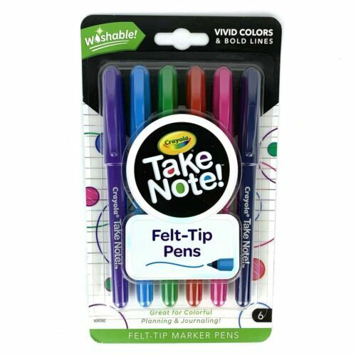 Crayola Take Note Felt Tip Pens Vivid Colors & Bold Lines Washable 6 Count NEW