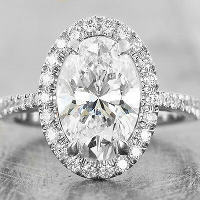 2.60 Ct Oval Cut Halo Diamond Engagement Ring G,VS2 GIA Certified Platinum 950
