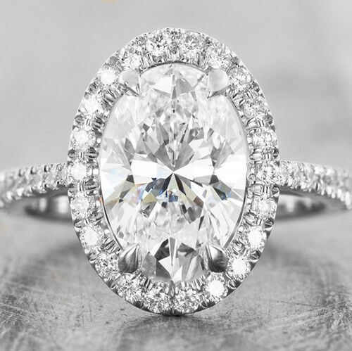 Lovely 1.60 Ct. Oval Cut Diamond Halo Engagement Ring G,VS2 GIA Certified 14K