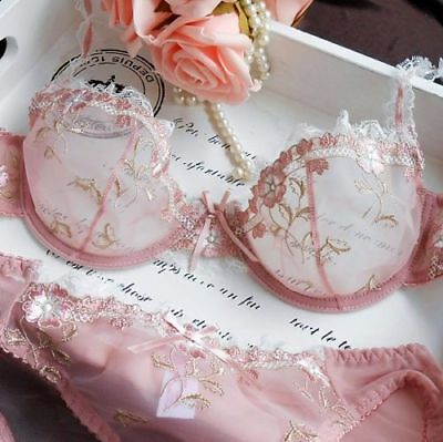 Women Floral Sheer Lace Embroidery  Bra and panty Sets Sexy Mesh Lingerie -