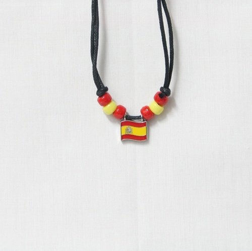 SPAIN  COUNTRY FLAG SMALL METAL NECKLACE CHOKER .. NEW
