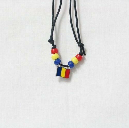 ROMANIA  COUNTRY FLAG SMALL METAL NECKLACE CHOKER .. NEW