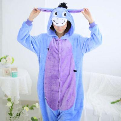 2018Eeyore Donkey Unisex Adult Pajamas Kigurumi Cosplay Animal Onesie0 Sleepwear
