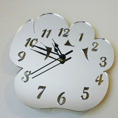 Paw Print Clock - Acrylic Mirror (Several Sizes Available)