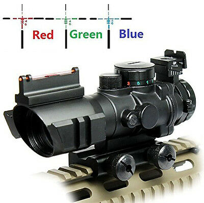 UUQ Prism 4x32 Rapid Range Reticle Rifle Scope W/ Top Fiber Optic Sight