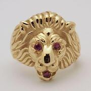 14kt Gold Lion Head Ring