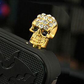 MOBILE PHONE BLING CANDY SKULL 3.5mm DUST PLUG IPHONE IPAD TABLET GALAXY S LOOK*HALLOWEEN