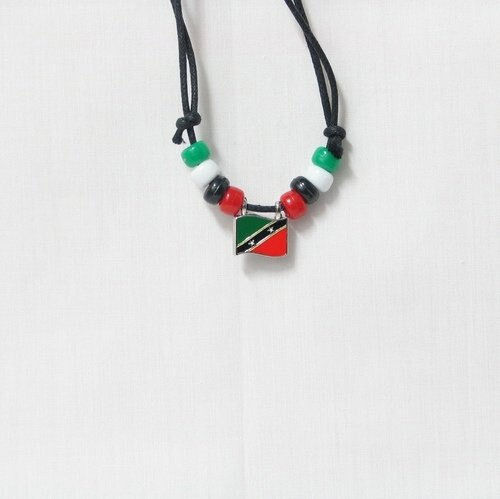 ST. KITTS & NEVIS  COUNTRY FLAG SMALL METAL NECKLACE CHOKER .. NEW