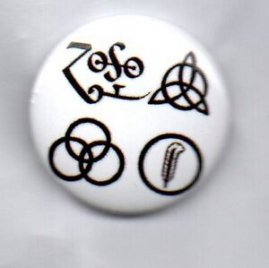 LED ZEPPELIN - SYMBOLS - BUTTON BADGE -CLASSIC ENGLISH ROCK BAND - ROBERT PLANT