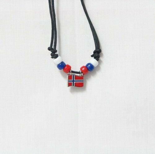 NORWAY  COUNTRY FLAG SMALL METAL NECKLACE CHOKER .. NEW