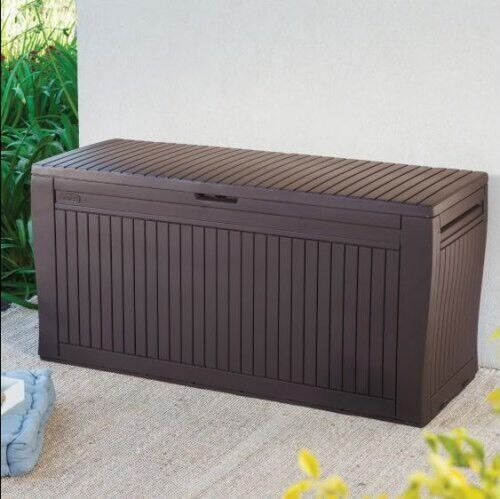 Keter Sherwood Outdoor Plastic Storage Box Garden Furniture 117 X 45 X 57 5 Cm Brown In