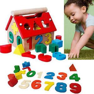 Kid Baby Educational Toy Wood House Building Intellectual Developmental Blocks
