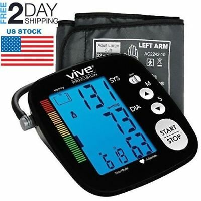Blood Pressure Digital Upper Arm LCD Monitor Extra Large Cuff Tester Portable