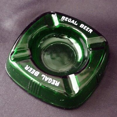 Vintage REGAL BEER MIAMI Emerald Glass Advertising Ashtray