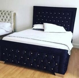 Black velvet KINGSIZE (5ft) bed with diamantes