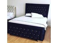 Black velvet KINGSIZE (5ft) bed with diamantes
