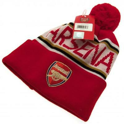 Arsenal FC Gunners Football Club Ski Bobble Knitted Hat Red Crest Badge Official